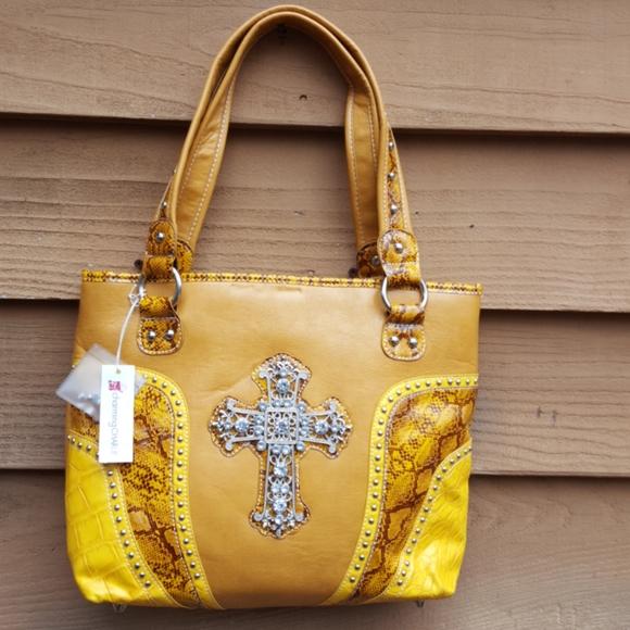 Carmel purse Christian cross snakeskin trim NWT